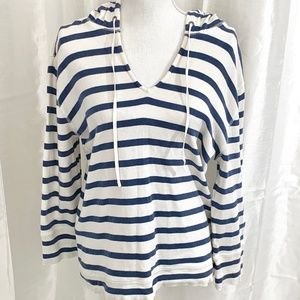 J. CREW      NAVY/WHITE HOODED TOP     LARGE
